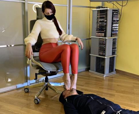 Rough Foot Gagging Humiliation By Cruel Mistress Sofi In Red Leggings