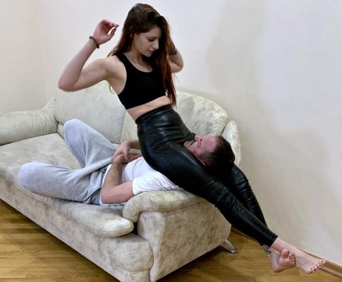Rough Mistress Sofi In Leather Pants - Extreme Head Scissor Female Domination