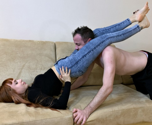 Young Girl In Jeans - Scissoring Femdom During Pussy Kissing and Ass Kissing