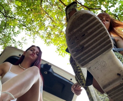 Two Mistresses POV Foot Domination and Spitting Double Femdom Outdoor