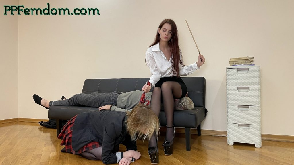 Night School Teacher Sofi Educates Her Students Obedience - Lezdom and Femdom Together