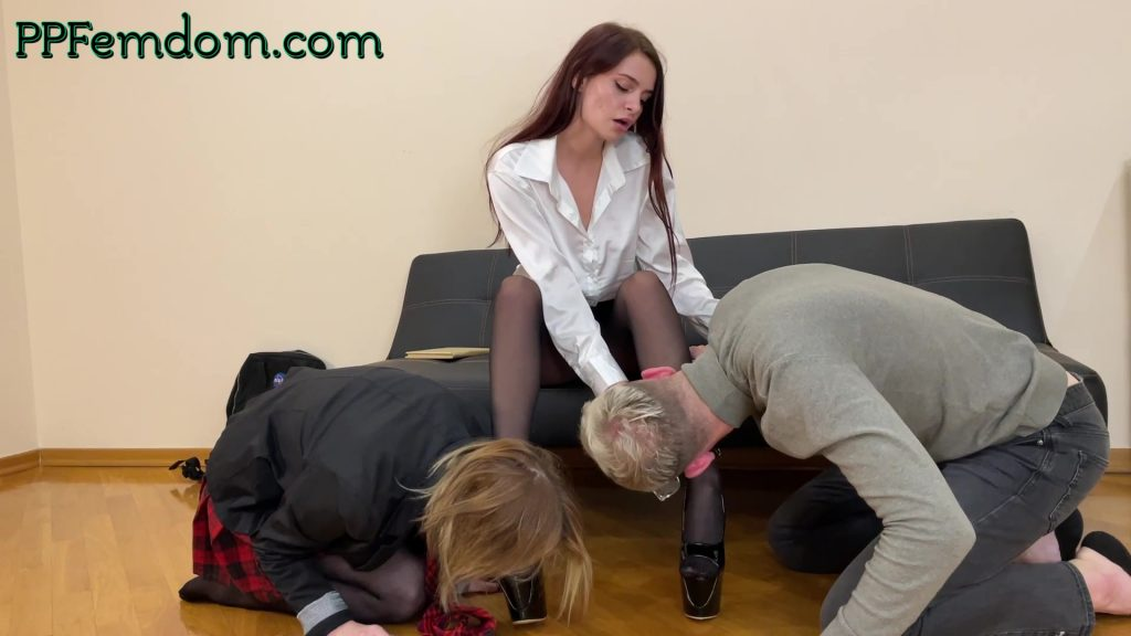 Subby Teenagers Kissing Teacher's Shoes - Double Foot Worship Femdom School